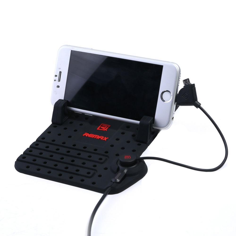 🔝 Коврик для телефона в автомобиль Remax Superflexible Car Holder, автодержатель с зарядкой | 🎁%🚚