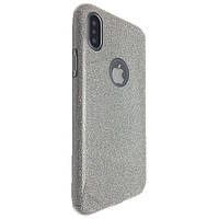 Накладка силикон райский дождик пластик вставка  for Apple iPhone X (silver)