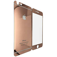 Защитное стекло for Apple iPhone 4/4S зеркало back/face rose gold