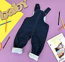 Утепленный джинсовый комбинезон для девочки (махра) 0,6-1-2-3 года ОПТОМ, фото 2