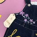 Утепленный джинсовый комбинезон для девочки (махра) 0,6-1-2-3 года ОПТОМ, фото 4
