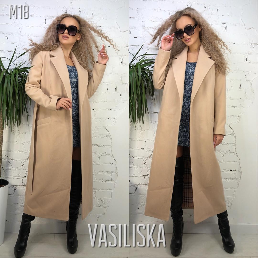 fbb502cdfa3 Длинное классическое женское кашемировое пальто с поясом - Интернет-магазин