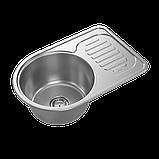 Кухонная мойка стальная Platinum 6745 Satin 0,8мм матовая, фото 3