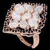 Кольцо с натуральным лунным камнем и черной шпинелью. Серебро, покрытие золотом размер 18, фото 2