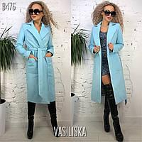 Женское кашемировое пальто, голубое, фото 1