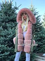 Парка с мехом  песца Saga Furs и отстежкой на жилет, фото 1
