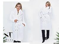 Женское длинное стеганное плащевое  пальто с воротников  из искусственного меха