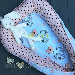 Гнездо-кокон для новорожденного 85Х40 см (подушка для беременной, подушка для кормления) Слоники