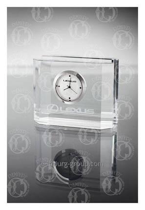 Часы корпоративные в стеклянной визитнице настольной, фото 2