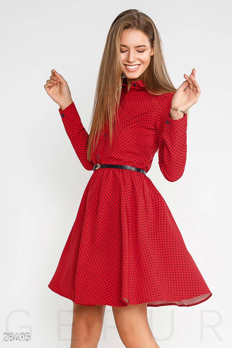 723898e2089965b Красное Платье в Черный Горошек с Отложным Воротником — в Категории ...