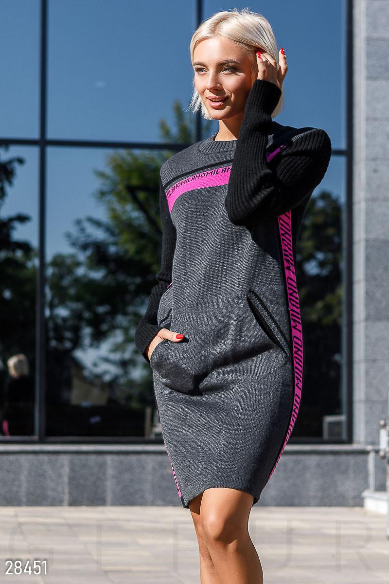 Тепле напіввовняна плаття-светр сіро-малинового кольору