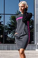 Теплое полушерстяное платье-свитер серо-малинового цвета