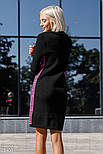 Тепле напіввовняна плаття-светр сіро-малинового кольору, фото 3