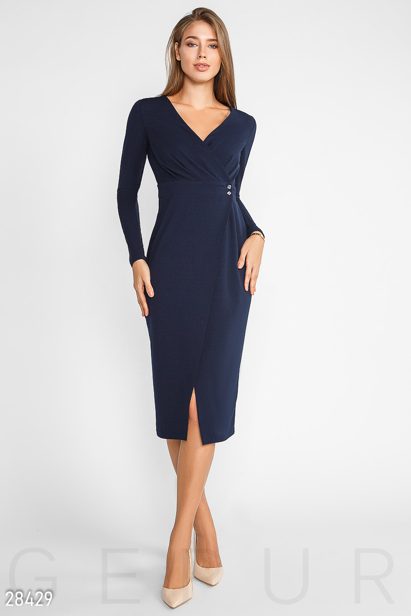 59ffeeef8e2aafe Темно-синее платье-миди на запах, цена 701 грн., купить в Одессе ...