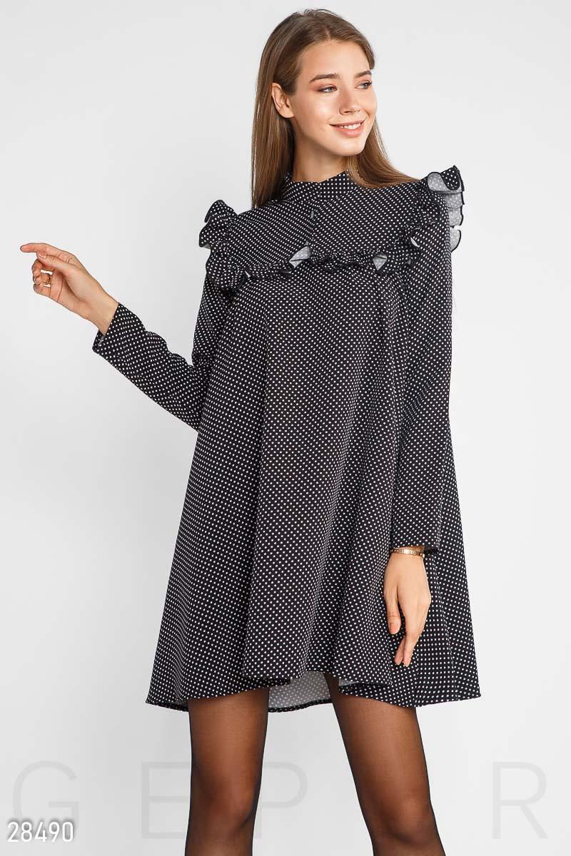 42a60da410b Расклешенное черное платье в белый горошек - LeButon в Одессе