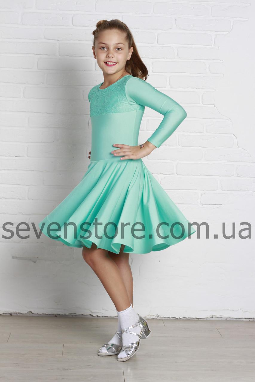 Рейтинговое платье Бейсик для бальных танцев Sevenstore 9124 Мята