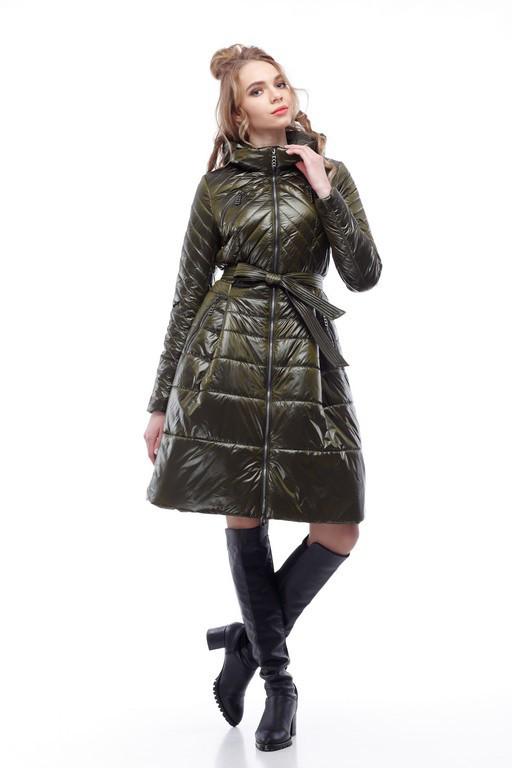 Женское пальто хаки на плащевке расклешенное приталенное весна-осень 2018, размер 42-50