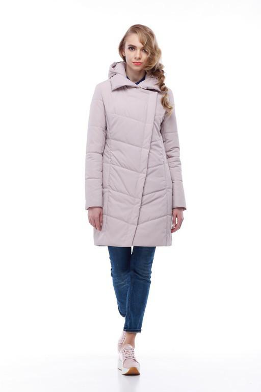 Пудровое пальто нижче стегна весна-осінь 2018, розміри 44-54