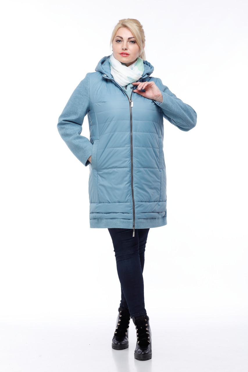 Стеганое модное пальто кашемир и плащевка большие размеры от 42 до 54