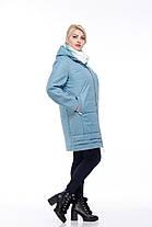 Стеганое модное пальто кашемир и плащевка большие размеры от 42 до 54, фото 3