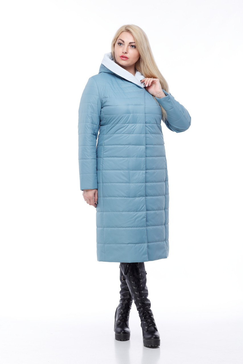 Пальто демисезонное высокого качества 48-60 больших размеров стеганое длинное 2019