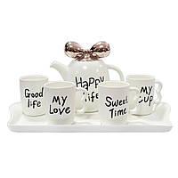 Чайный  набор Счастливая жизнь белый ( подарочный набор чашек )