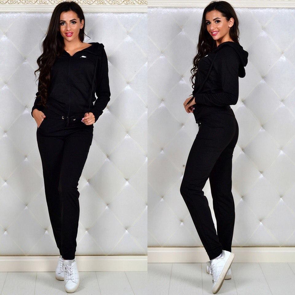 b4dfc0c2347c Модный женский спортивный костюм NIKE черный -