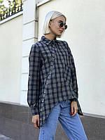 Модная женская рубашка в клетку / байка / Украина 23-90-1