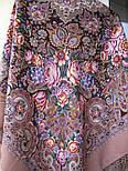 Бенефис 1769-16, павлопосадский платок шерстяной (двуниточная шерсть) с шелковой вязаной бахромой, фото 7