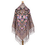 Бенефис 1769-16, павлопосадский платок шерстяной (двуниточная шерсть) с шелковой вязаной бахромой, фото 3