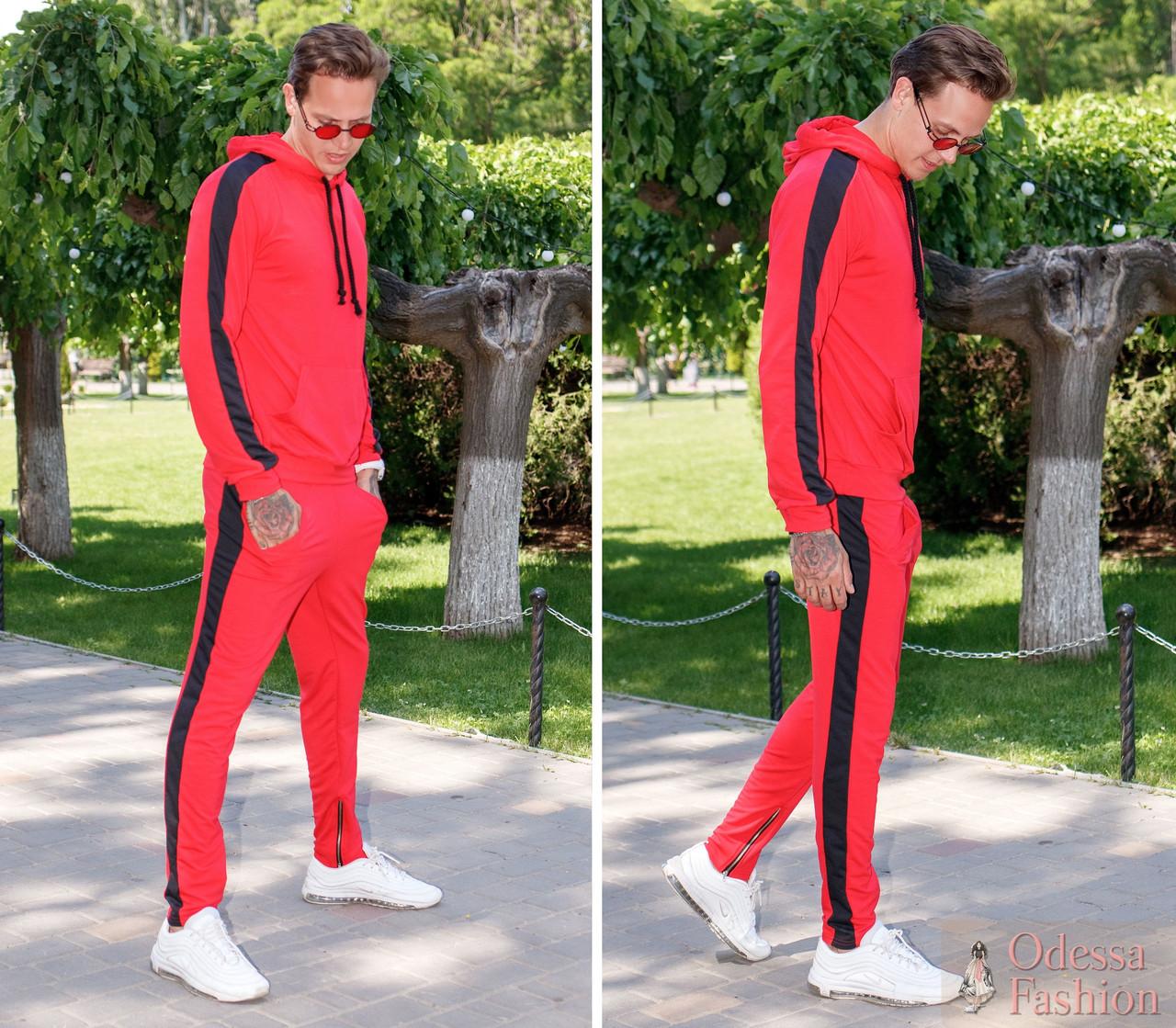 Спортивный прогулочный мужской молодежный костюм: кофта с капюшоном и штаны со змейками внизу штанин