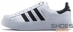 Женские кроссовки Adidas Superstar Bold W (Ftwr White / Core Black / Gold Metallic)