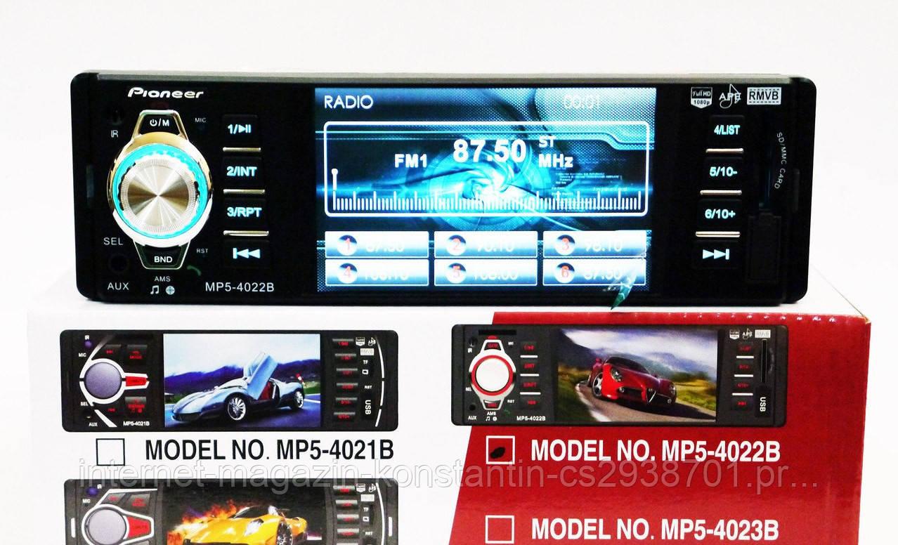 Автомагнітола Pioneer 4022B з Bluetooth, USB, AUX, FM+Відео+Підтримка Камери!