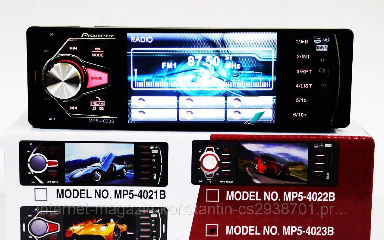 Автомагнитола Pioneer 4023B с Bluetooth, USB, AUX, FM+Видео+Поддержка Камеры!