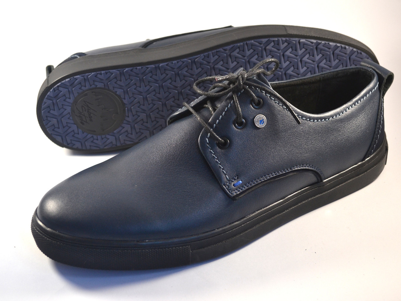 Обувь больших размеров мужская слипоны синие кроссовки кожаные Rosso Avangard BS OrigSlipy Blu Lether