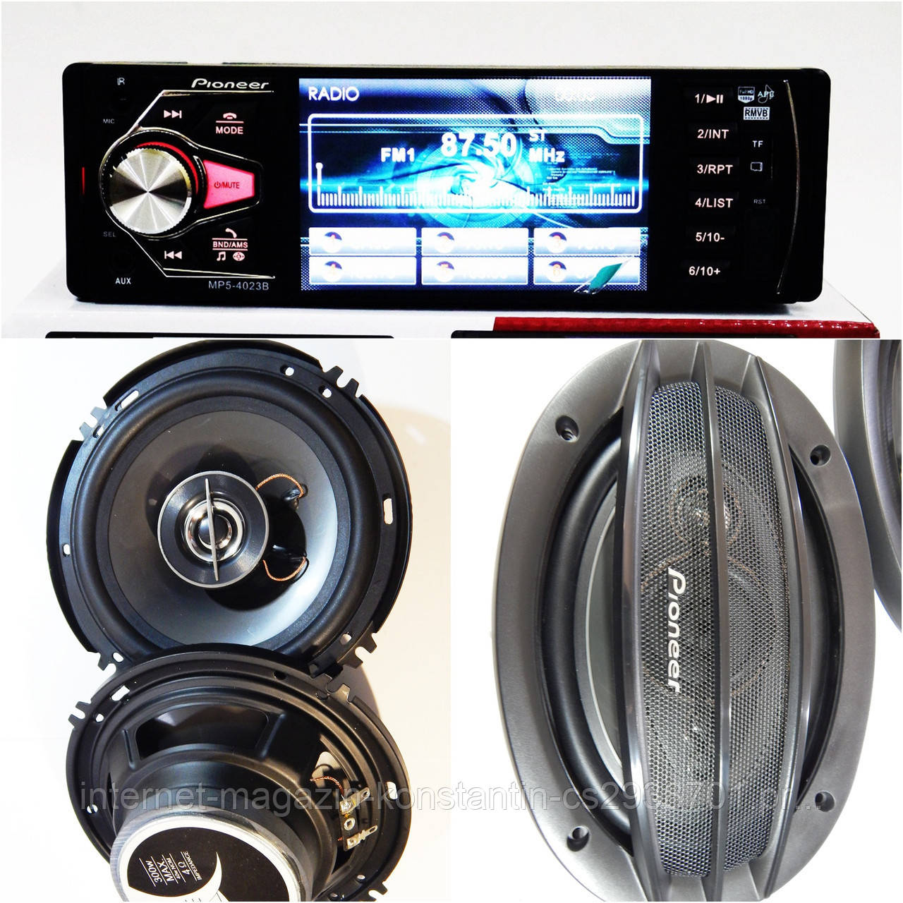 Набор Авто-звука с МР4 ВИДЕО Магнитолой Pioneer 4023B + Овалы 1000W + круглые 16 см 300W! НОВИНКА