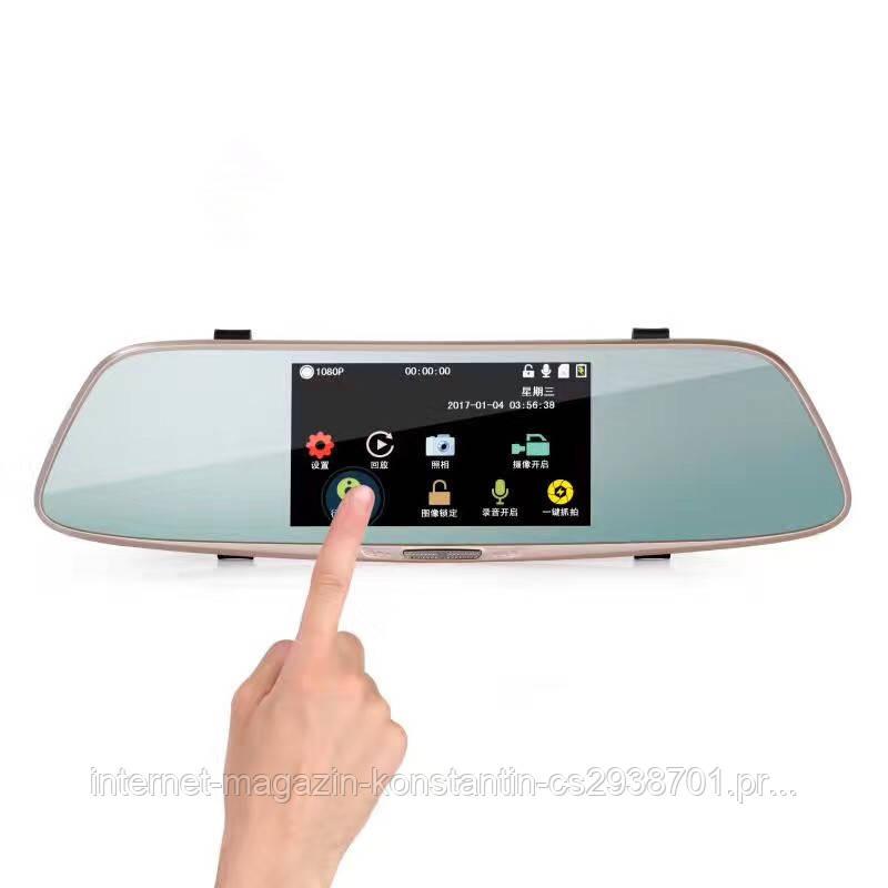 "Видеорегистратор зеркало DVR L808 Full HD 5"" сенсорный экран на 2 камеры"