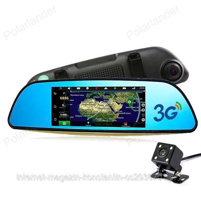 """Автомобильный видеорегистратор зеркало D35 7"""" сенсор, 2 камеры, GPS навигатор, WiFi, 8Gb, Android, 3G"""