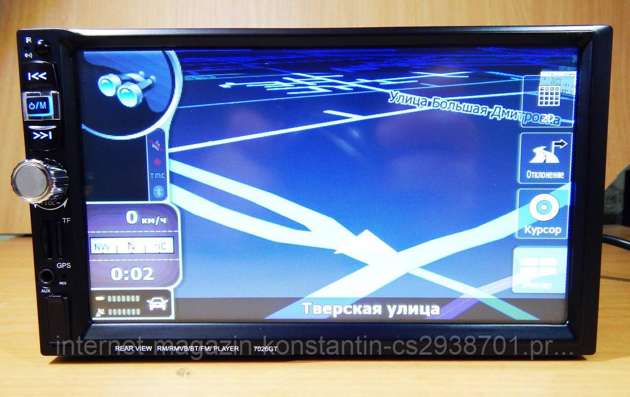 """Автомагнитола 2Din Pioneer 7026GT 7"""" Экран, GPS, Bluetooth, Читает ВИДЕО+ ПУЛЬТ НА РУЛЬ+КАРТЫ+КАМЕРА!"""