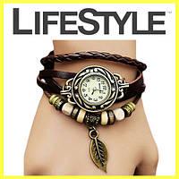 Женские часы на тонком кожаном ремешке с подвеской Лист Есть разные цвета