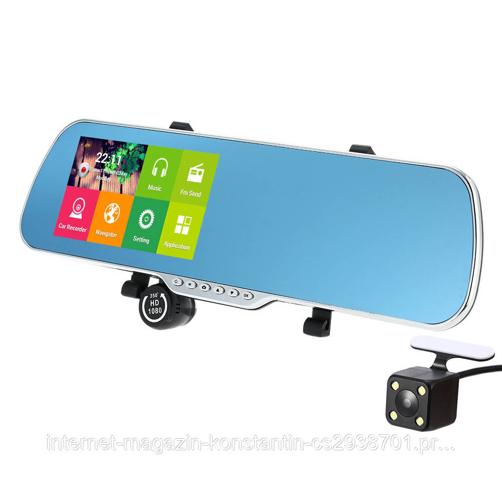 "Автомобильный Регистратор зеркало Dvr X5 Full HD 5"" GPS, WiFi, 8Gb, Android"