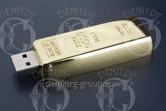 Флэш-память золотой слиток, фото 2