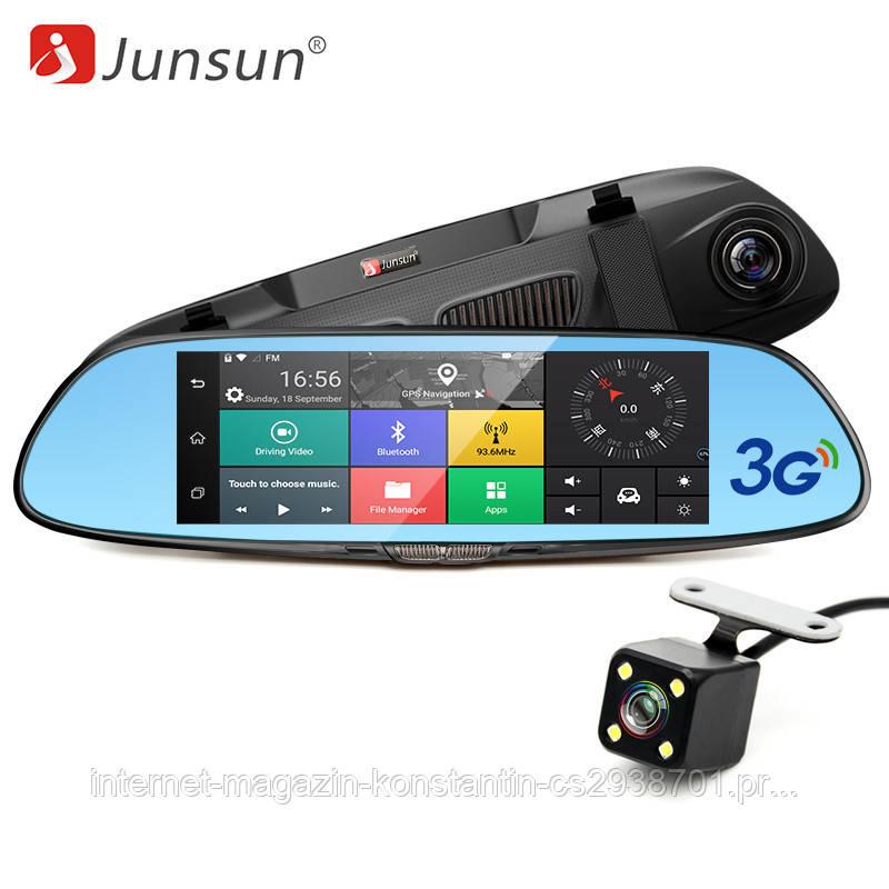 """Автомобильный видеорегистратор зеркало Junsun K5, 7"""" сенсор, 2 камеры, GPS, WiFi, 16 Gb, Android, 3G"""