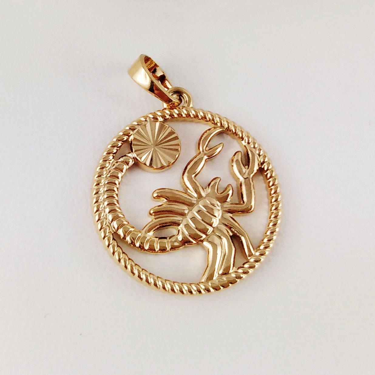 """Подвеска, знак зодиака XUPING """"Скорпион"""" медицинское золото, позолота 18К"""