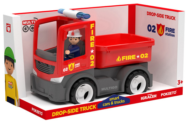 Игрушка MULTIGO Single FIRE - DROPSIDE WITH DRIVER Пожарн.грузовик