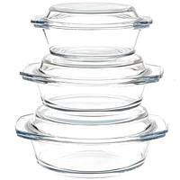 Набор стеклянных кастрюль A-PLUS 3 шт. (1092) Круглых