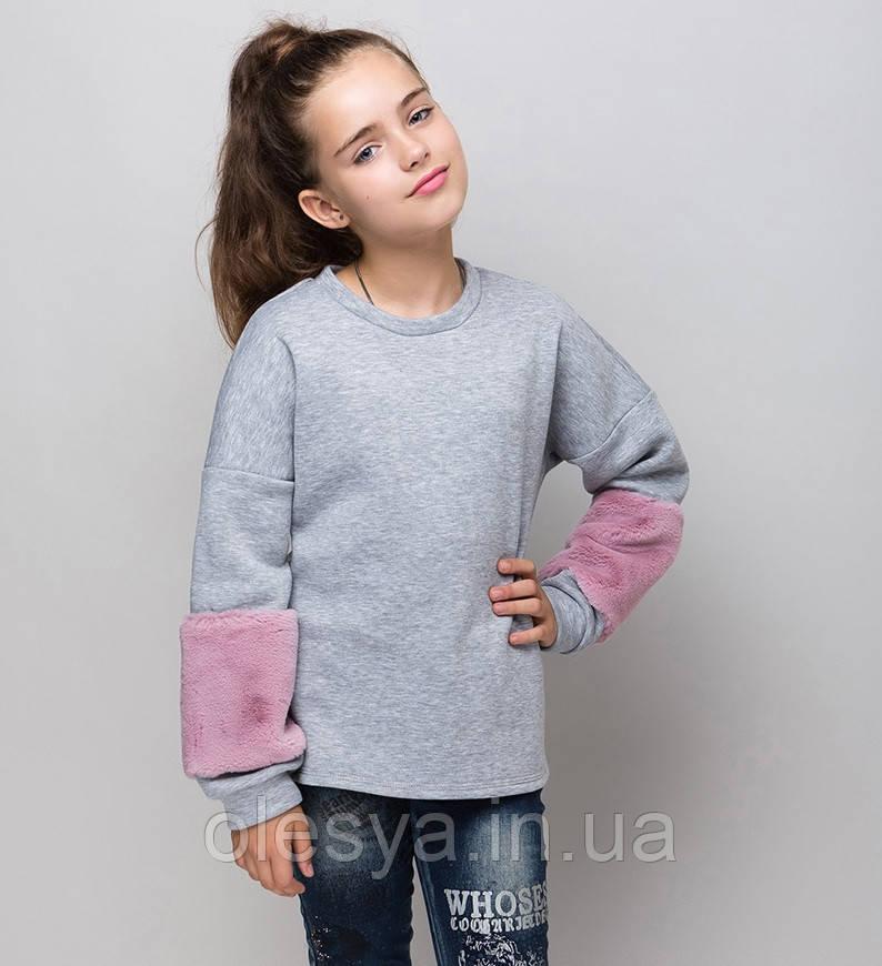 Свитшот для девочки подростка с меховыми рукавами Размеры 122-152