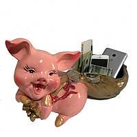 Статуэтка Свинья с мешком средняя золотой 22 см