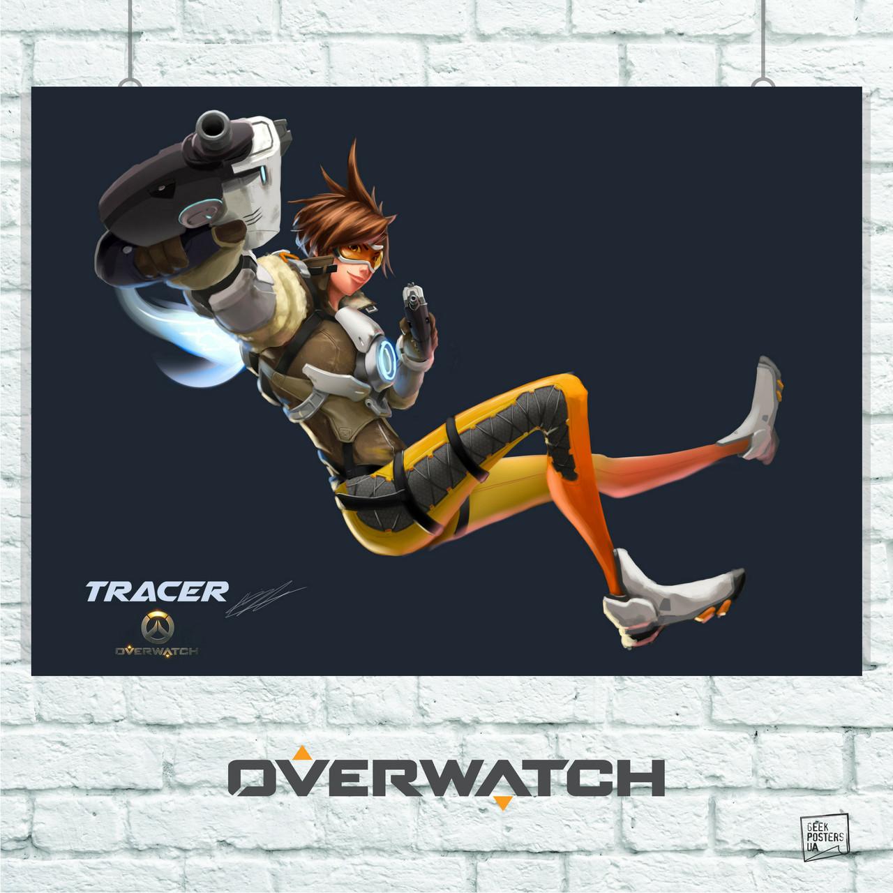 Постер Overwatch, Трейсер (рисунок). Размер 60x42см (A2). Глянцевая бумага