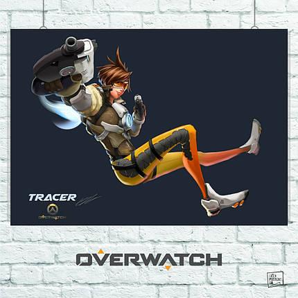 Постер Overwatch, Трейсер (рисунок). Размер 60x42см (A2). Глянцевая бумага, фото 2